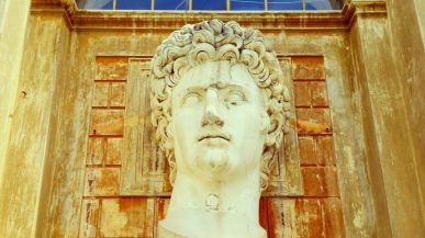 A giant head of Augustus in the courtyard of the Vatican.
