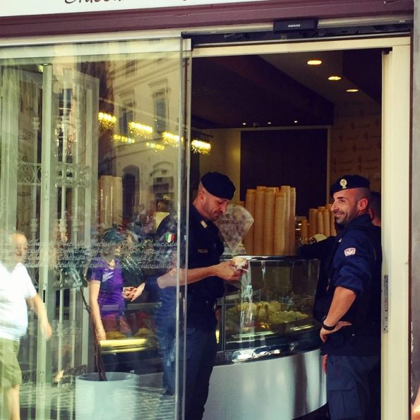 The carabinieri. Busy with gelato and looking good.