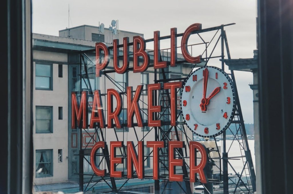 Iconic Pike Place signage